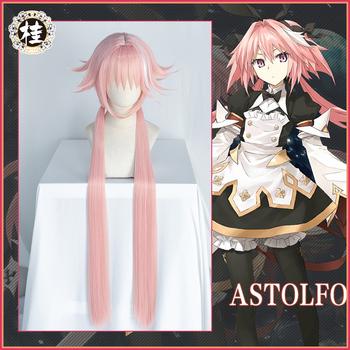 Uwowo gra Fate Grand Order FGO Astolfo peruka do Cosplay 100cm długi podwójny ogon różowe włosy tanie i dobre opinie WOWO U Nakrycia głowy anime Unisex Dla dorosłych Akcesoria Poliester Kostiumy