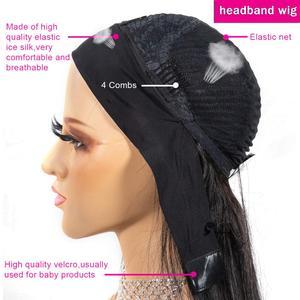 Image 5 - Lanqi, venta al por mayor, peluca con malla frontal con diadema, pelucas de cabello humano con encaje frontal brasileño para mujeres negras, peluca con cierre de encaje 4x4