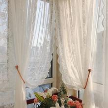Europeu branco rendas sheer cortinas para sala de estar floral voile tule janela cortina para o quarto decoração casamento porta da cozinha