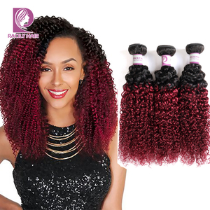 Racily Hair 1B/Burgundy Ombre Brazilian Kinky Curly Bundles Remy Weave Human Hair Extensions 99J Red 1/3/4 Bundles Free Shipping