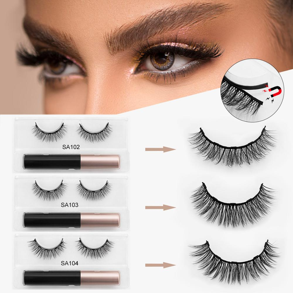 ISEEN 3D Mink Magnetic Eyelashes Waterproof Lasting Magnetic Eyeliner Magnet Mink Eyelashes Makeup Extension False Eyelashes