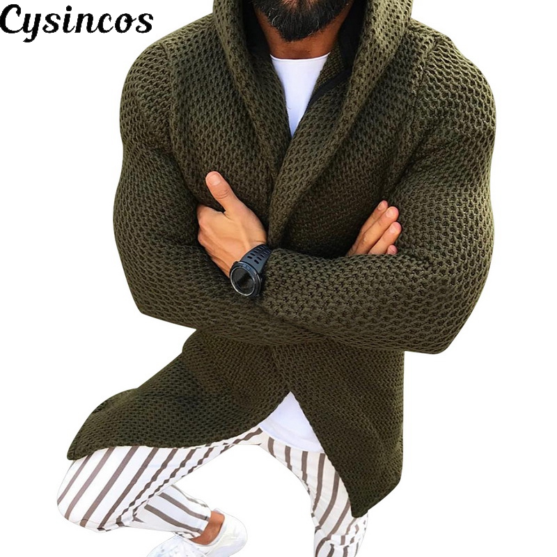 CYSINCOS Mens Coat Cardigan Sweater Pull Long-Sleeve Autumn Casual Winter Black Hiver
