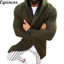 CYSINCOS мужской свитер миди с длинным рукавом, черный кардиган, мужское пальто, зима-осень, повседневный однотонный кардиган, мужской кардиган, Pull Homme Hiver