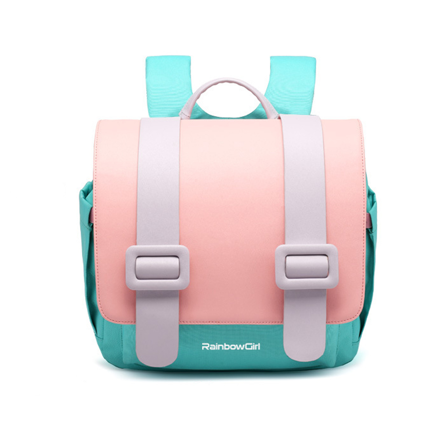 Macarons School Bags Children Orthopedic Waterproof Candy Color Backpacks For Primary Student Kids Girls Horizontal Pattern Bags