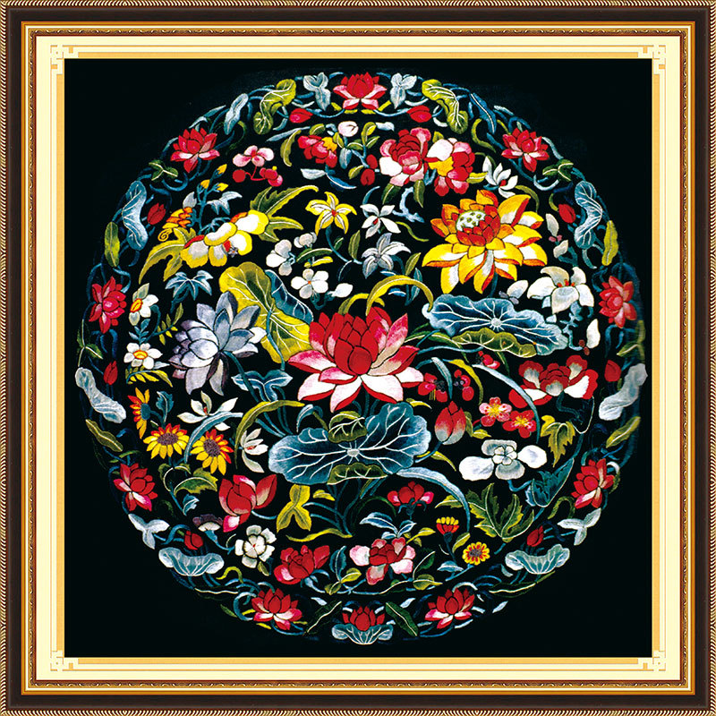 Handmade Needlework,DMC DIY Cross-stitch,Full Embroidery Kits,Lotus Patterns Chinese Totem (1) Cross Stitch Printed On Canvas