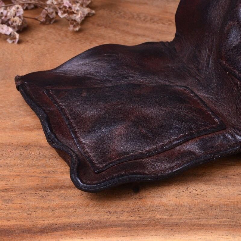 AETOO ручной работы винтажный плиссированный короткий кожаный бумажник первый слой кожаный мужской и женский вертикальный простой Молодежный тренд тонкий