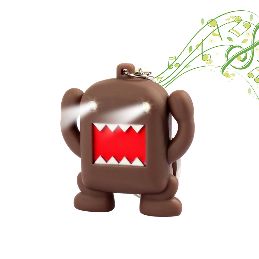 Cartoon character Domo-kun glow vocal keychain With LED Light Sound Keychain Kids Toy Gift Decorate Bag Keyring