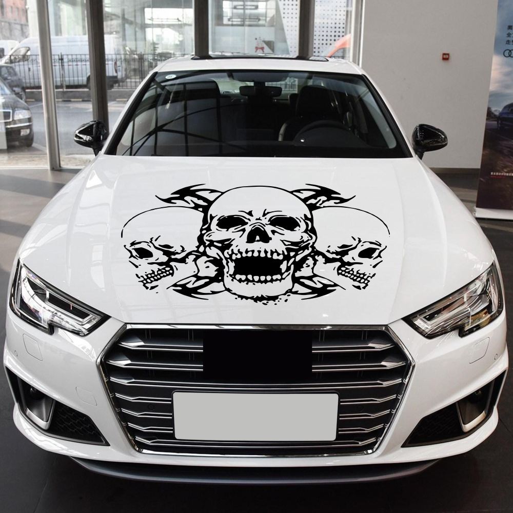 1Pc Skull Head Totem Auto Sticker Car Body Racing Side Door Long Stripe Stickers Auto Vinyl Decal Three Skull Totems  Car Decal