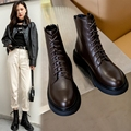 Autumn/Winter Women Boots 2020 Round Toe Flat short Plush Genuine Leather Ankle Boots Black Brown Solid All-match Short Boots