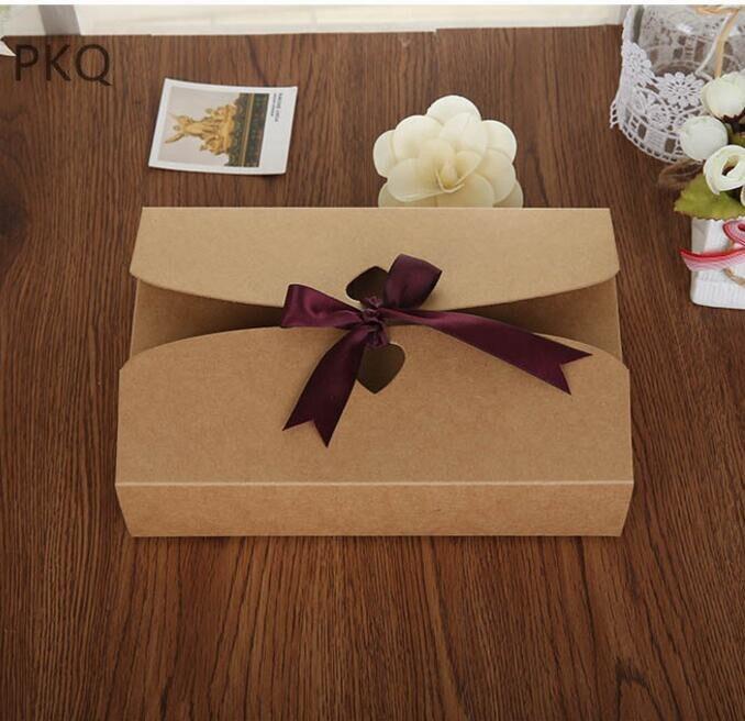 20 pièces 21.5*14*5cm Kraft papier cadeau boîte vêtements foulards chemises boîtes paquet mariage fête faveur bonbons boîtes avec ruban