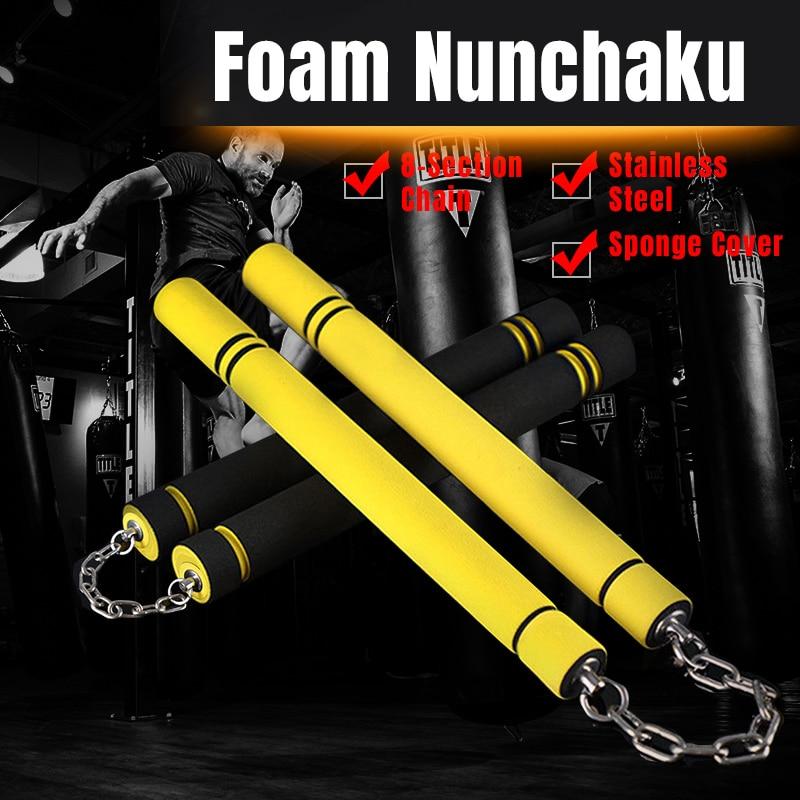 Durable Nunchakus Martial Arts Foam Nunchucks Sponge Stick Metal Chain Practice Training Safety Martial Arts Products
