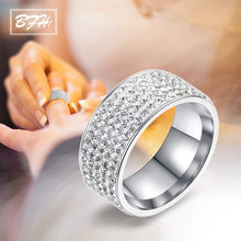 BFH New Fashion Stainless Steel Crystal Engagement Hot Sale Rings For Women Zircon Cubic Elegant Ring Female Wedding Jewerly(China)