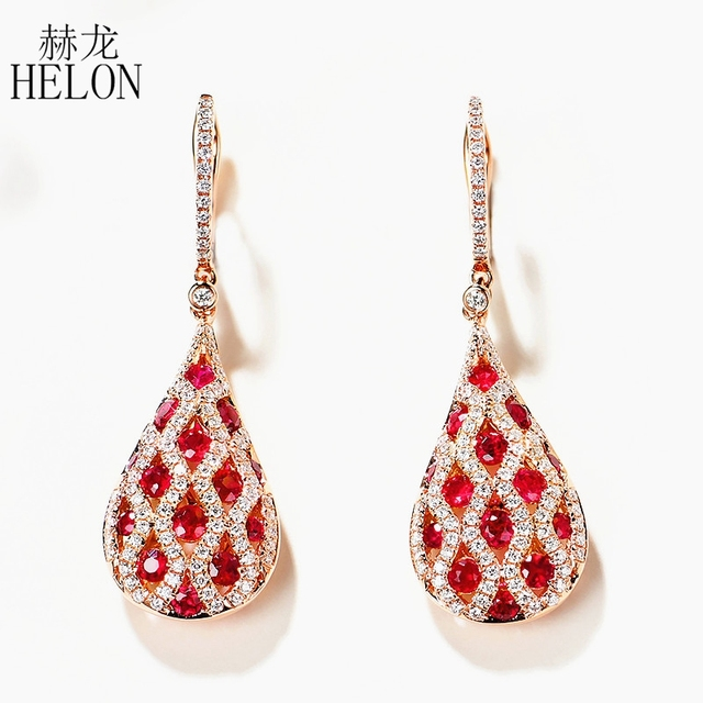HELON Solid 14K Rose Gold 1 1ct Genuine Natural Red Ruby 0 5ct Diamond Engagement Drop.jpg 640x640 - HELON Solid 14K Rose Gold 1.1ct Genuine Natural Red Ruby 0.5ct Diamond Engagement Drop Earrings Elegant Noble Earrings Jewelry