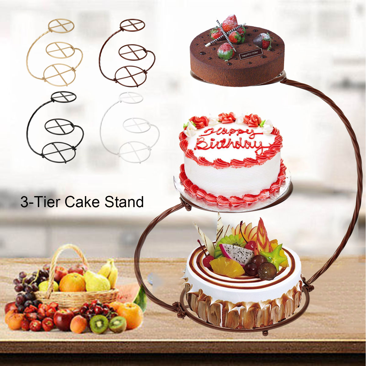 Party Iron Cake Stand Cake Rack For Wedding 3 Tier Wedding Cake Stand 30*60cm Party Supply