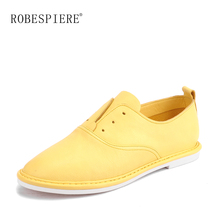 ROBESPIERE 2019 Autumn Women Casual Flats Soft Genuine Leather Flat Oxford Shoes Lady Lace Up White Black Yellow Boat Shoes A114