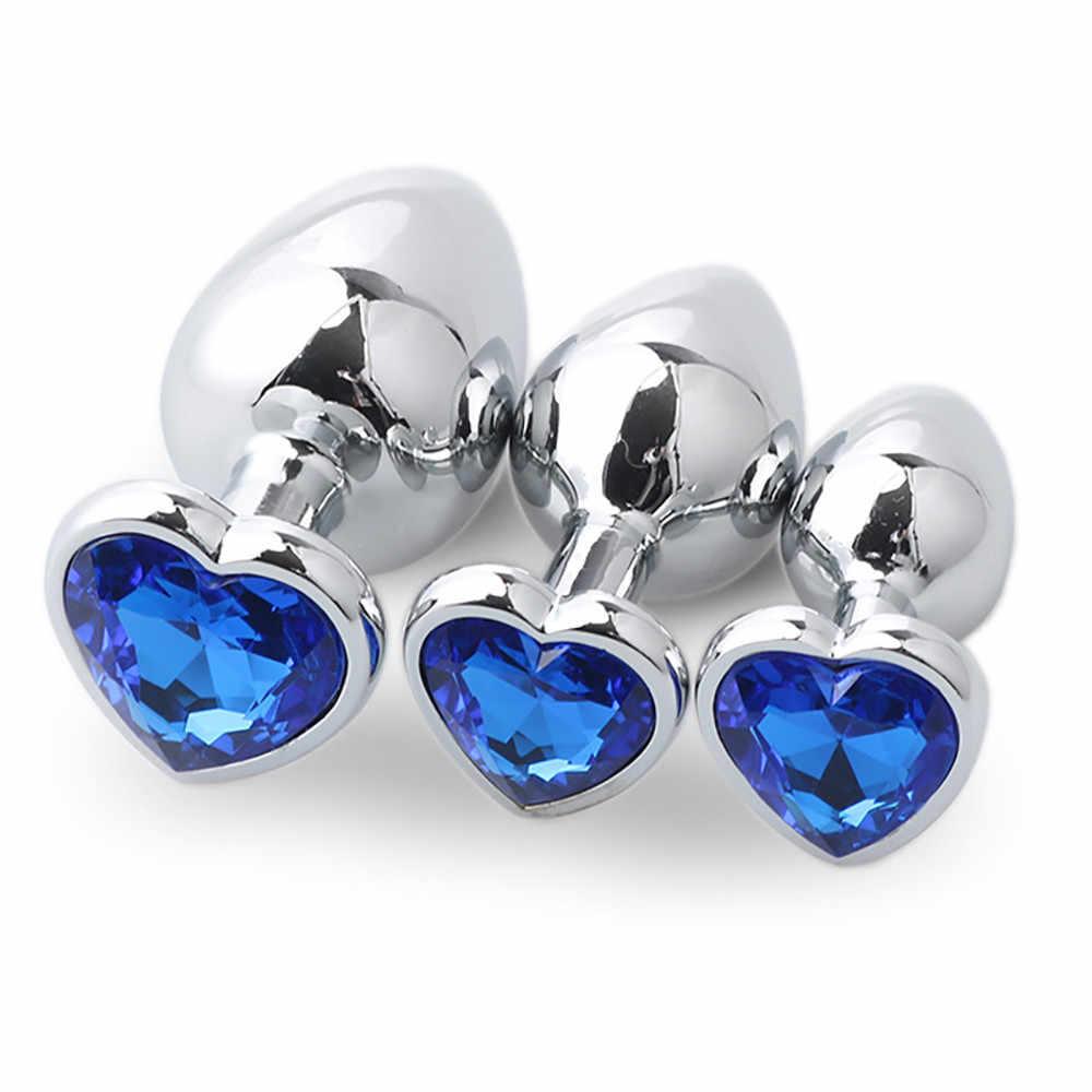 Jiuai 3Pcs Anal Plug Logam Anal Berbentuk Hati Dasar dengan Perhiasan Lahir Batu Butt Anal Bermain Permata Rosegold seks G0917 35