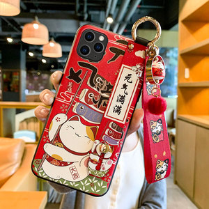 Image 5 - Lucky Cat Wrist Strap TPU Mobile Phone Case For Huawei P30 P40 Protective Cover For nova3 4 5 honor20pro Silicone Cases Shell