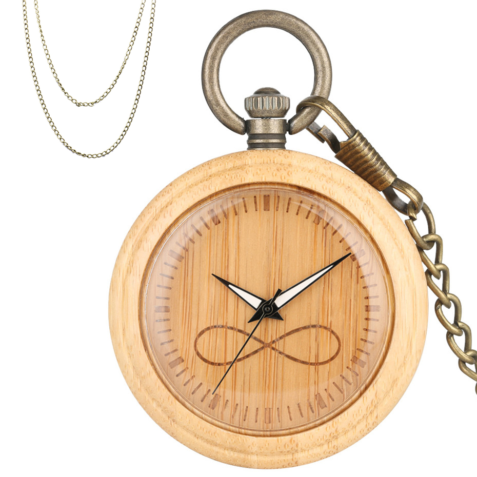 Engraving Unlimited Logo Design Bamboo Wood Quartz Pocket Watch Pure Wooden Case Bronze Pocket Necklace Chains New Arrival 2019