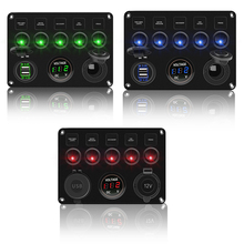Toggle Switches Digital Voltmeter Rocker Switch Panel Dual USB 12V Waterproof For Car Marine Boat Ship LED Truck Accessories