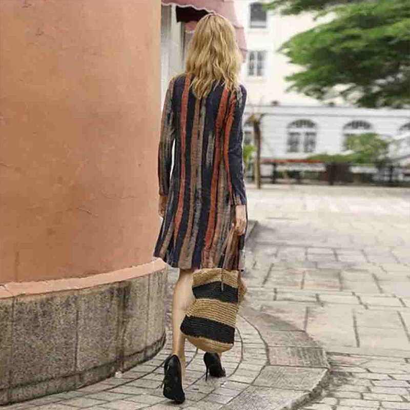 Autumn Women's Retro Crew Neck Long Sleeve Casual Swing Dresses Loose Striped Mini Dresses
