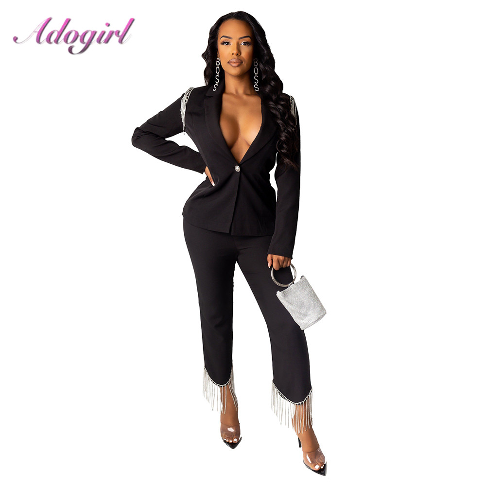 Adogirl Women's Office Lady Two Piece Sets Casual Single Breasted Turn-Down Tassel Blazer Jacket+High Waist Pencil Pant Suit Set