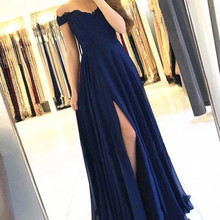 Navy Blue Long Bridesmaid Dresses 2020 Off Shoulder Lace Top