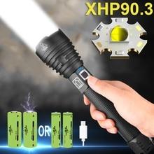 350000lm poderoso xhp90.3 lanterna led 18650 usb recarregável mão lâmpada tático flash luz xhp90 zoom tocha caça lanterna