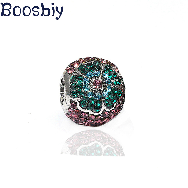 Boosbiy 2pc Silver Spring Green Magnolia Flower Clip or Bead Charms Fits European Pandora Charm Bracelets Jewelry Accessories image