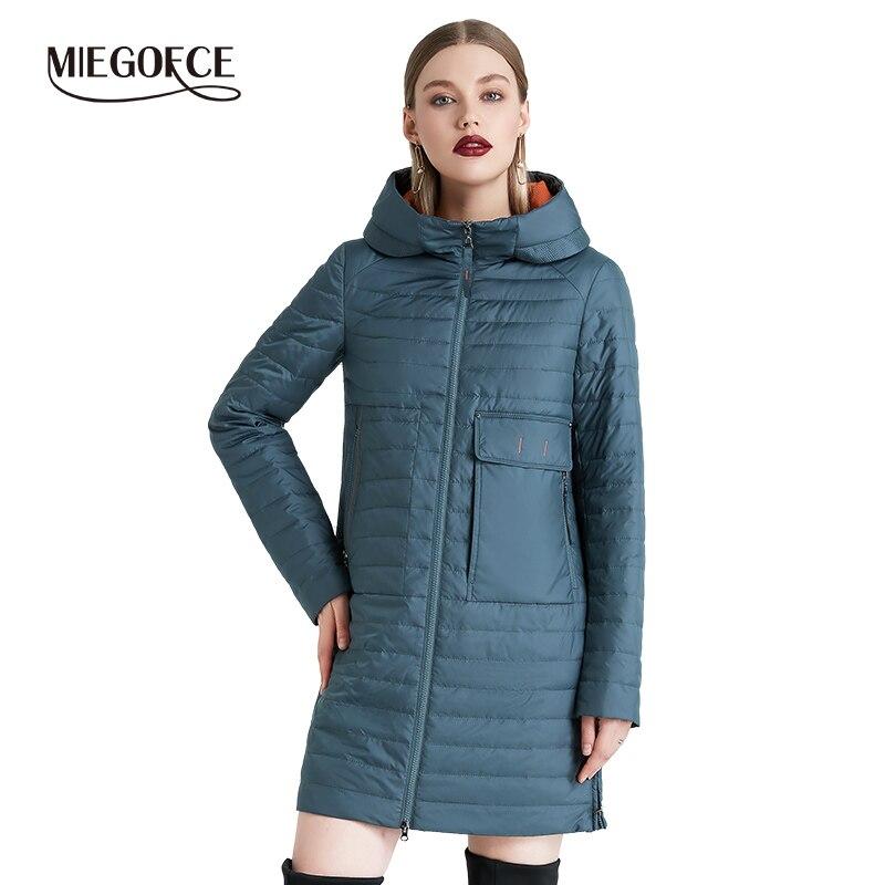 MIEGOFCE 2019 printemps et automne veste à capuche pour femme manteau coupe-vent à la mode pour femme avec grandes poches longue Parka en coton