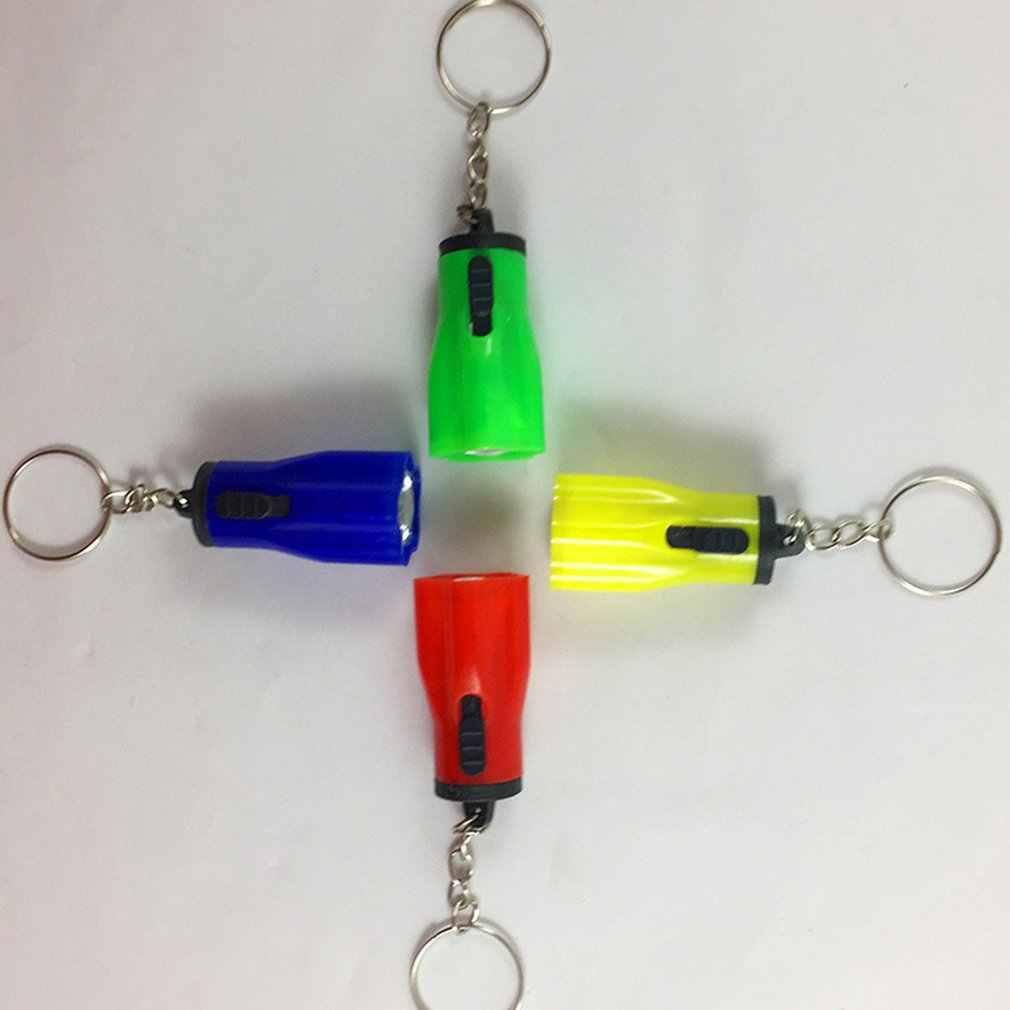 1 pçs mini led chaveiro lanterna chaveiro mão tocha chaveiro portátil lâmpada de luz emergência botão plástico alimentado