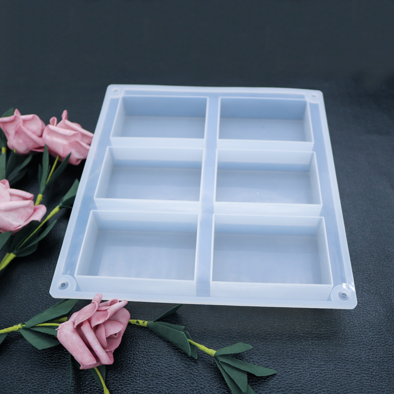 Transparent 6 Cavities Rectangle Block Silicone Mold For Soap Making Molds Suitable For Baking Cake Handmade Soap Tools Pink