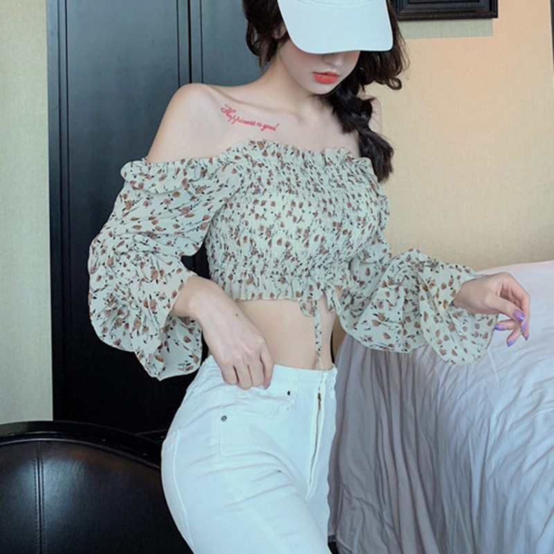 Women's Square Collar Tops Clothes Short Chiffon Shirt Blouses New Sexy Sweet Pleated Small Floral Print Full Summer Streetwear 3