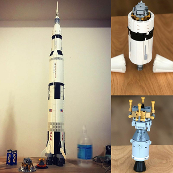 Lepinblocks Ideas series The Apollo Saturn V Building Blocks Compatible lepining 21309 37003 education Toys for children 10231