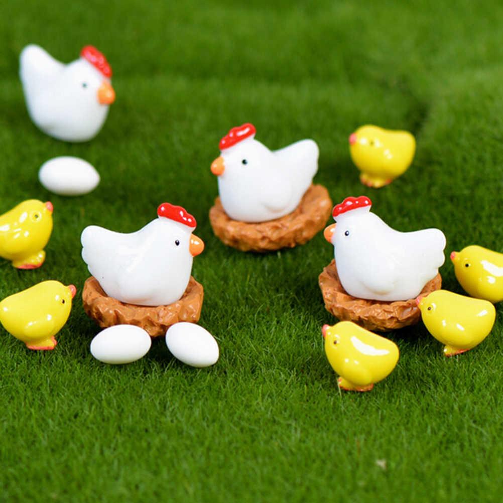 2/4/5 個編チキンニワトリの卵の巣小型牧草像置物マイクロ妖精の庭の装飾工芸品ギフトおもちゃ DIY 家の装飾