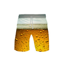 Beer Day3D color printed shorts cool and breathable beach pants summer