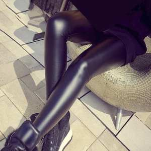 Sexy Pants Leggings Trousers Faux-Leather High-Waist Stretchy Fashion Women Skinny