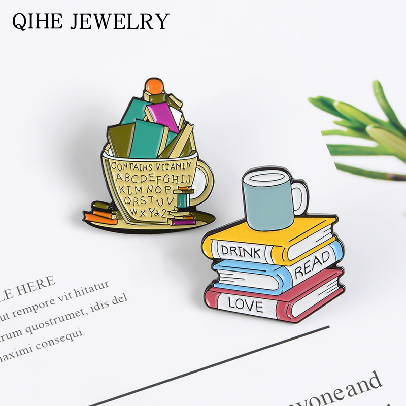 Books and Cup Enamel pins Love Reading Books Drink Coffee Brooches Reader Bookworm Badges Funny Cartoon Jewelry Gift Wholesale(China)