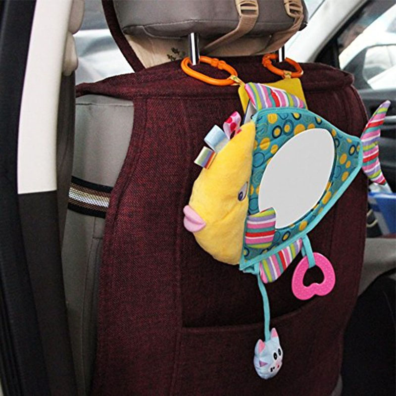 Baby Toy Stuffed Plush Baby Rattles Toddler Car Seat Fish Mirror Infant Stroller Hanging Newborn Educational Toy 0-12 Months