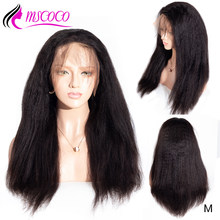 Mscoco Hair Kinky Straight Wig Pre Plucked Full Lace Human Hair Wigs 200 Density Remy Brazilian Glueless Full Lace Wigs(China)