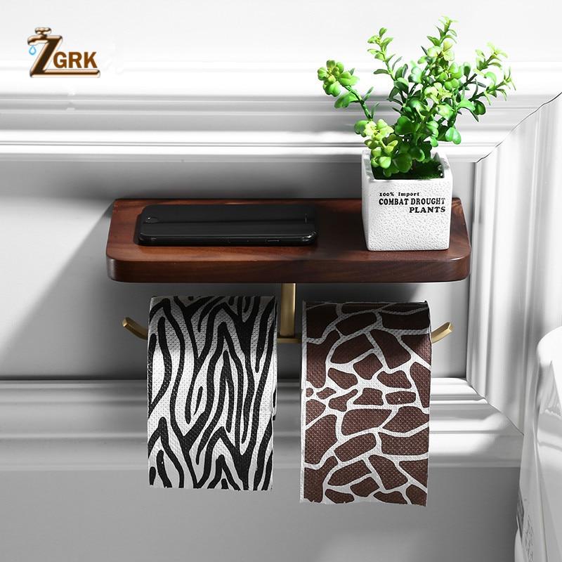 ZGRK Multi-function Double Toilet Paper Holder Wall Moounted Mobile Phone Rack Black Walnut Wood Bathroom Creative Roll Holder