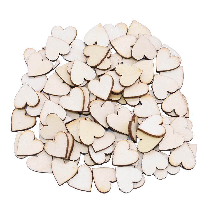 10mm-50mm Unfinished Heart Natural Wooden Craft Making DIY Wedding Party Gifts Heart For Wood Decoration Valentine's Day Present