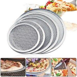 Bandeja de cozimento da bandeja da tela da pizza da vara não nova rede de metal de alumínio sem emenda bakeware net ferramentas de cozinha pizza 6-17 polegadas