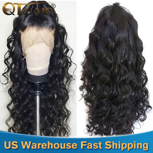 QT 180 Body Wave Glueless Lace Front Human Hair Wigs 360 Lace Frontal Wig Pre Plucked With Baby Hair Brazilian 13X6 Remy Wig(China)