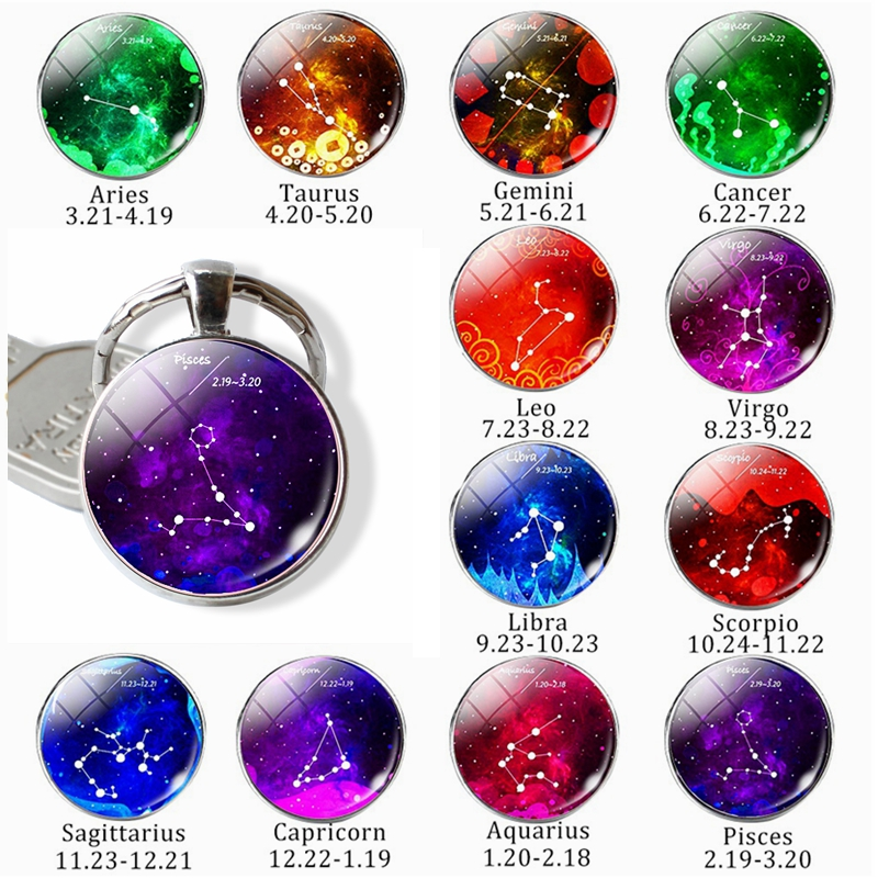 12 Constellation Zodiac Sign Keychain Key Chain Ring Gemini Cancer Virgo Libra Scorpio Pendant Glass Dome Jewelry Birthday Gift