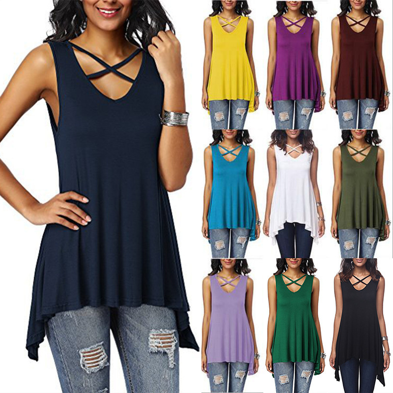 Summer Women T-shirt With  Sleeveless Lace Up Sexy V Neck Top With Holes Femme Basic T-shirt Women Plus Size 3XL