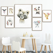 цена на Raccoon Panda Koala Owl Rabbit Wall Art Print Canvas Painting  Nordic Canvas Posters And Prints Wall Pictures Baby Kids Room