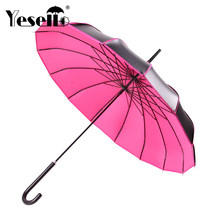 Yesello Long-handle Pagoda Umbrella Men Black Coating Windproof Large Umbrellas Red Rain Windproof Portable Umbrellas For Women(China)