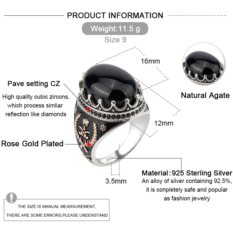 Image 2 - 925 Sterling Silver Men Ring with Oval Black Natural Stone Rings 