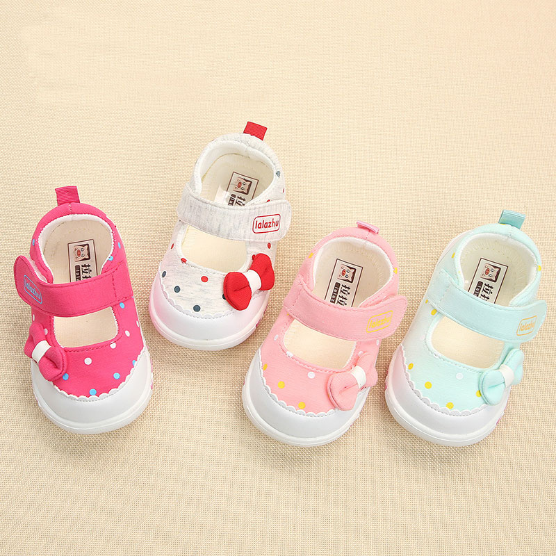 Spring Baby Footwear Princess Butterfly Knot First Step Shoes Breathable Cotton Toddler Shoes TPR Soft Bottom Infant Shoe Pink