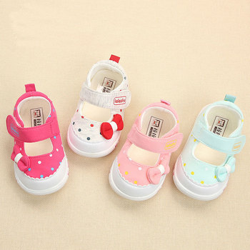 Spring Baby Footwear Princess Butterfly Knot First Step Shoes Breathable Cotton Toddler Shoes TPR Soft Bottom Infant Shoe Pink 1